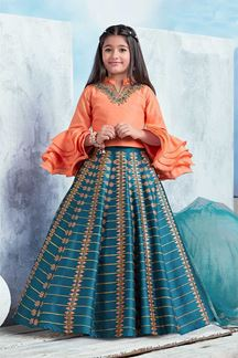 Picture of Charming Orange & Blue Lehenga Choli