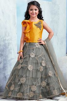 Picture of Novel Orange & Grey Designer Lehenga Choli