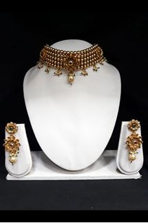 Picture of Layered Artifical Golden Beads Choker Necklace Set with Double Flower Earring