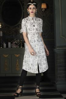 Picture of White Colored Casual Printed Kurti