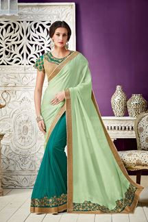 Picture of Unveil A Stylish Side Of Yours In This Beautiful Green Georgette Saree