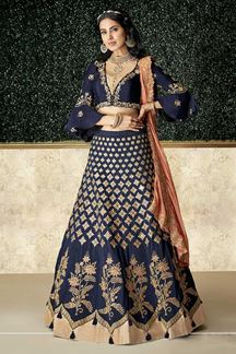 Picture of Resplendent Blue & Peach Colored Embroidery Lehenga Choli