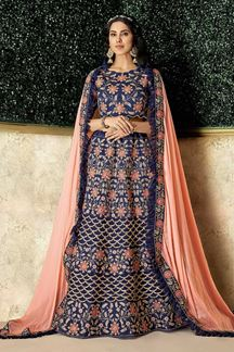 Picture of Silk Blue Embroidered Lehenga Choli