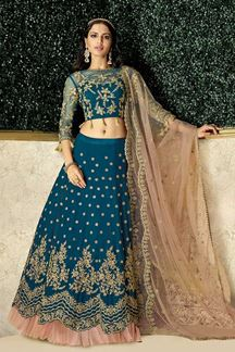 Picture of Trending Teal Blue & Pink Colored Embroidery Lehenga Choli