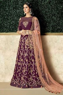 Picture of Vibrant Wine Colored Embroidered Lehenga Choli