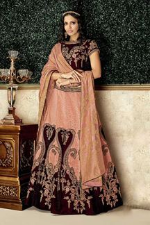 Picture of luxury Peach & Maroon Embroidery Lehenga Choli
