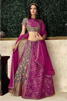 Picture of Celebrate The Majestic Green & Magenta Colored Embroidery Lehenga Choli