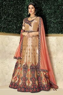 Picture of Classic Beige & Peach Colored Embroidery Lehenga Choli