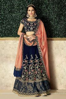 Picture of Rendering Blue Colored Embroidery Lehenga Choli