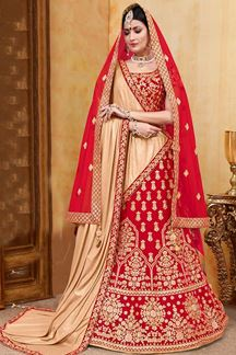 Picture of Mesmerising Red Designer Embroidered Lehenga Choli