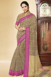 Picture of Beige & Magenta Colored Checks Banarasi Silk Saree