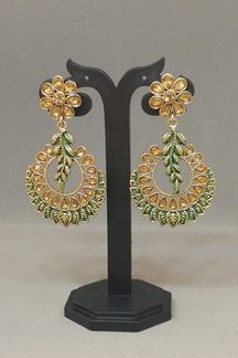 Picture of Magical green & gold designer earrings