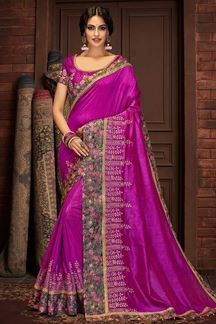 Picture of Purple Colored Silk Designer  Saree