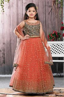 Picture of Classy Peach & Grey Designer Kids Wear Lehenga Choli Set