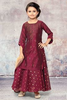 Picture of Sassy Maroon Designer Kids Wear Suit