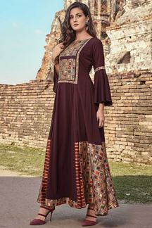 Picture of Trendy Wine Colored Partywear Fancy Long Kurti