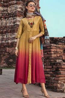 Picture of Ravishing Golden Designer Mixcotton Kurti