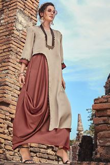 Picture of Flirty Rust-Beige Colored Partywear Satin Kurti