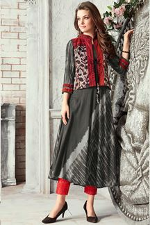 Picture of Dazzling Grey Colored Partywear Digital Printed Jacket Kurti