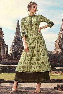 Picture of Parrot Green Poly-rayon Printed Kurti