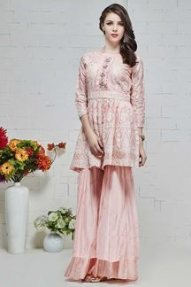 Picture of Demanding Pink Colored Partywear thread Cotton Muslin Kurti Set