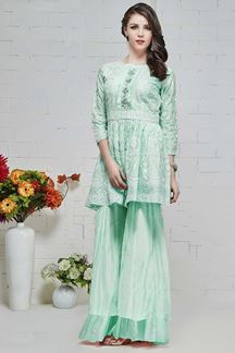 Picture of Prominent Green Colored Casual Wear Muslin Kurti-Palazzo Set