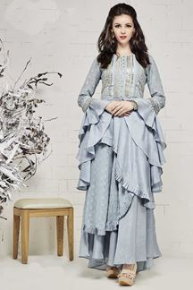 Picture of Beautiful Unique Cuts Grey Colored Designer Kurti