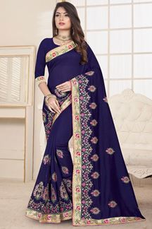 Picture of Magical Glossy Navy Blue Designer Saree