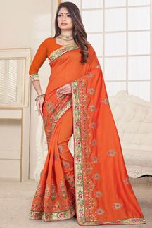 Picture of Glossy Orange Designer saree with Embroidery Work