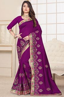 Picture of Refreshing Purple Colored Party Wear Embroidered Saree