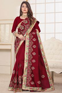 Picture of Classy Maroon Designer Embroidery Saree