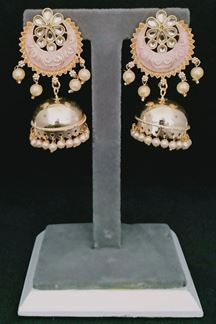 Picture of Mint Pink Color Chandbali Earring with Minakari Work