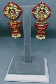 Picture of Long Pearls Jumka Earring in a Ring Shape