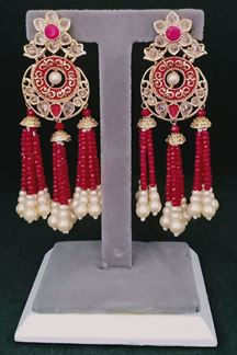 Picture of Three Jumki Worked Designer Earring in a Chandbali