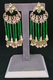 Picture of Fusion Antique Designer Crystal Pearls Hanging Earring in Green Color