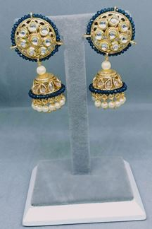 Picture of Fascinating Clear Stone Work Traditional Earring in Blue Color