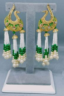 Picture of New Design of Peacock Shape earring in Green Mint Color