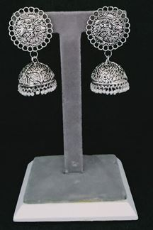 Picture of Oxidized Silver Designer Jhumka Earring