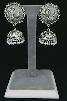 Picture of Rashigems Smiling White Oxidized Silver Plated Jhumki Earrings