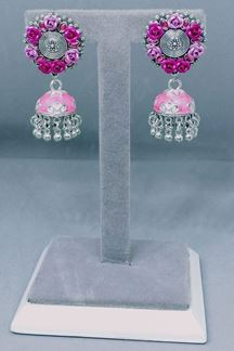 Picture of Floral Patterned Pink Rose Silver Tone Brass Earrings With Ghungroo