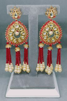 Picture of Long Golden Earring with 3 Layer of Crystal Red Pearls