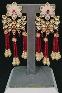 Picture of Kundan Designer Golden Red Pearl Earring with mint cream