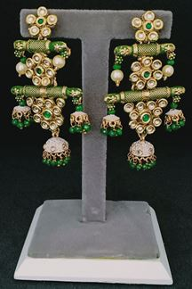Picture of Affluent 2 layer of Green Earring with Small Jumki