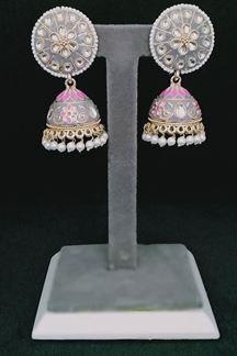 Picture of Floral Hand Painted Meenakari Grey Jhumka Earring