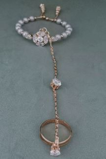 Picture of Accessher Contemporary Ring Bracelets Hath Phul with Pearls