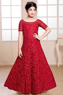 Picture of Opulent Red Colored Party Wear Kids Gown