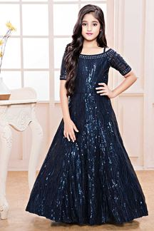 Picture of Adorning Blue Colored Party Wear Kids Gown