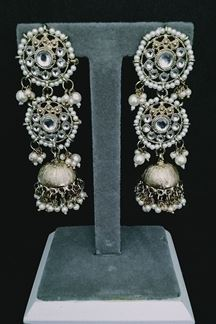 Picture of Long Kundan Jumka Earring With Pearls Work