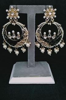 Picture of Black Color Polki Earring with Meenakari Work
