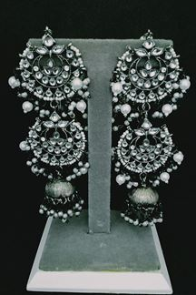 Picture of Long Oxidized Silver Toned Jhumka Earring